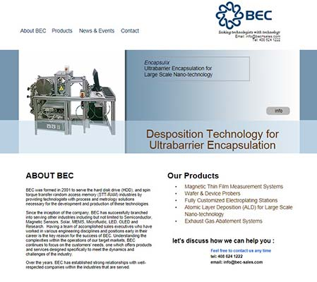 website for BEC: Process, Testing & Metrology Equipment Solutions