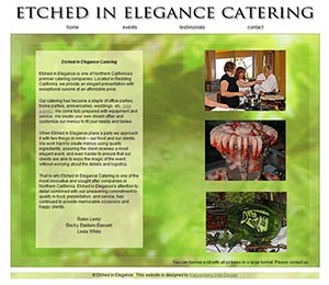 website of a catering company called Etched in Elegance